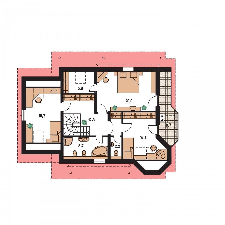 Pôdorys Poschodia - Veľký dom s garážou a vonkajším krbom.