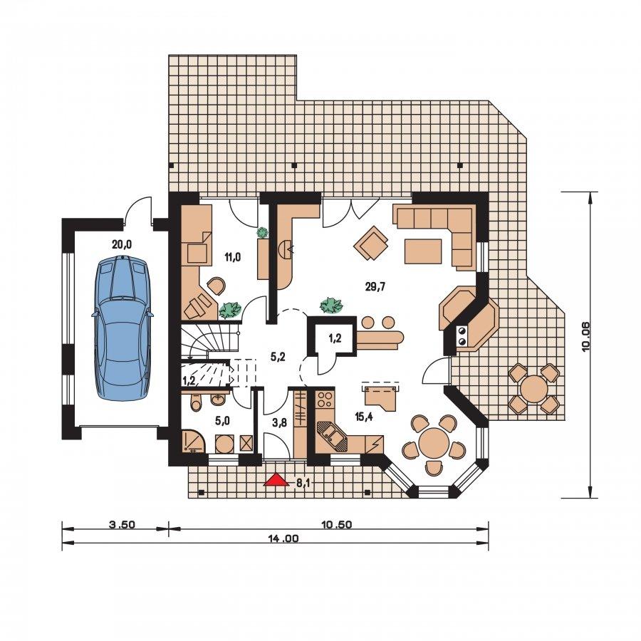 Pôdorys Prízemia - Veľký dom s garážou a vonkajším krbom
