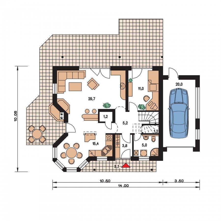 Pôdorys Prízemia - Veľký dom s garážou a vonkajším krbom.