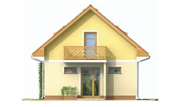 Pohľad 1. - Jednoduchý dom na malý pozemok.