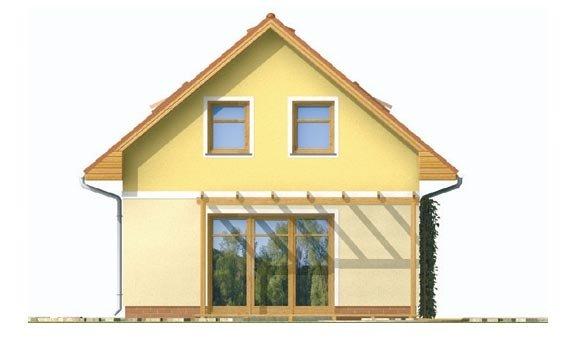 Pohľad 3. - Jednoduchý dom na malý pozemok.