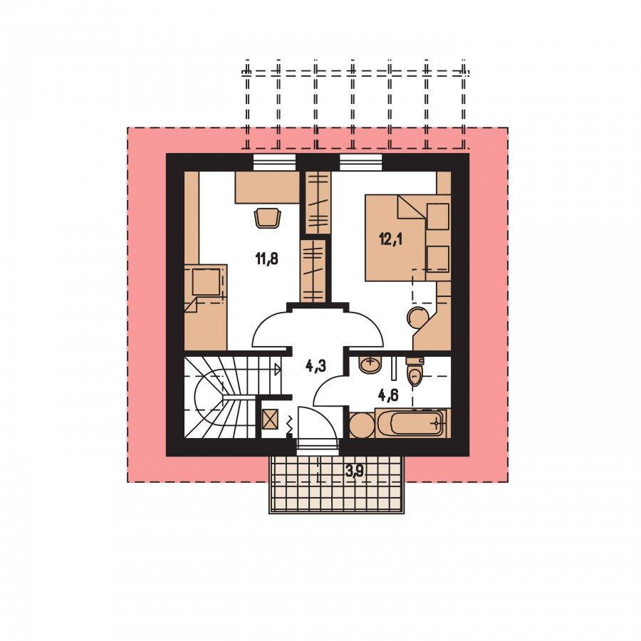 Pôdorys Poschodia - Jednoduchý dom na malý pozemok.