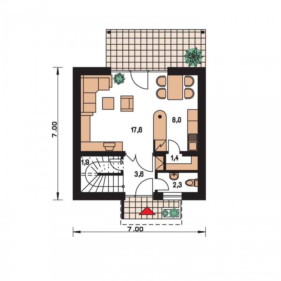 Pôdorys Prízemia - Jednoduchý dom na malý pozemok.
