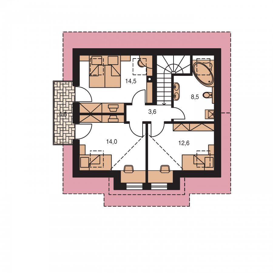 Pôdorys Poschodia - Malý praktický dom pre 4-člennú rodinu.