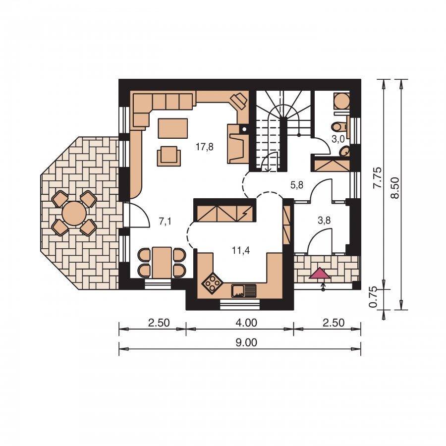 Pôdorys Prízemia - Malý praktický dom pre 4-člennú rodinu.