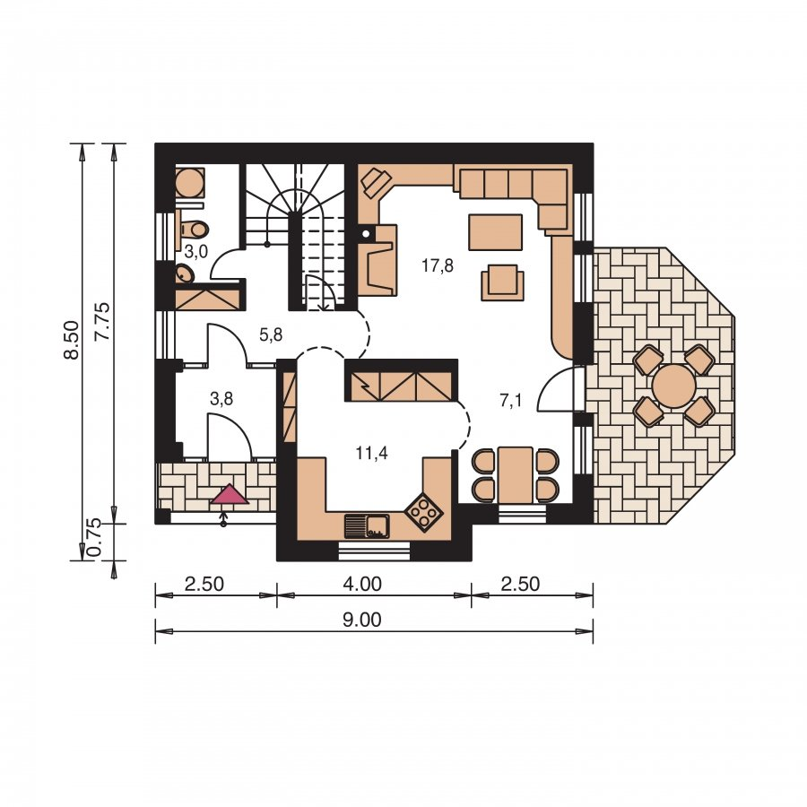 Pôdorys Prízemia - Malý praktický dom pre 4-člennú rodinu