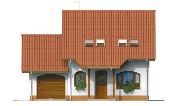 Pohľad 1. - Malý praktický dom s garážou.