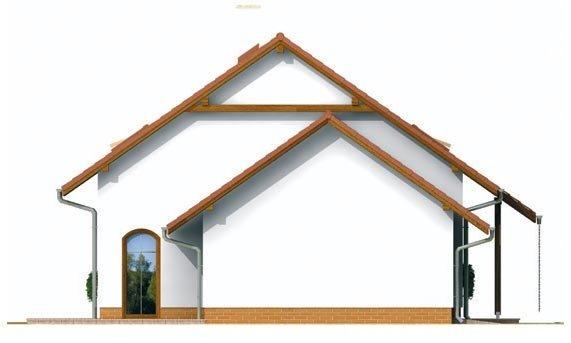 Pohľad 2. - Malý praktický dom s garážou.