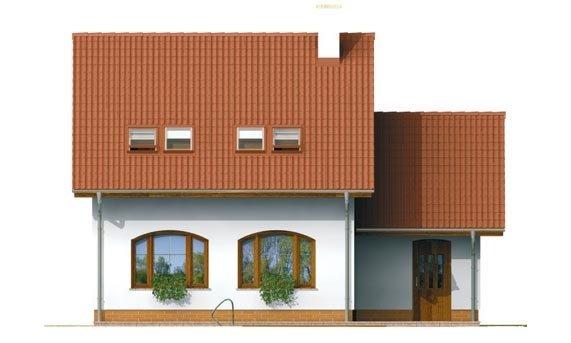 Pohľad 3. - Malý praktický dom s garážou.