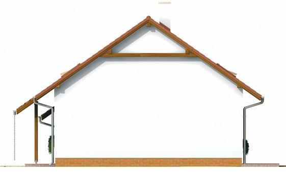 Pohľad 4. - Malý praktický dom s garážou.