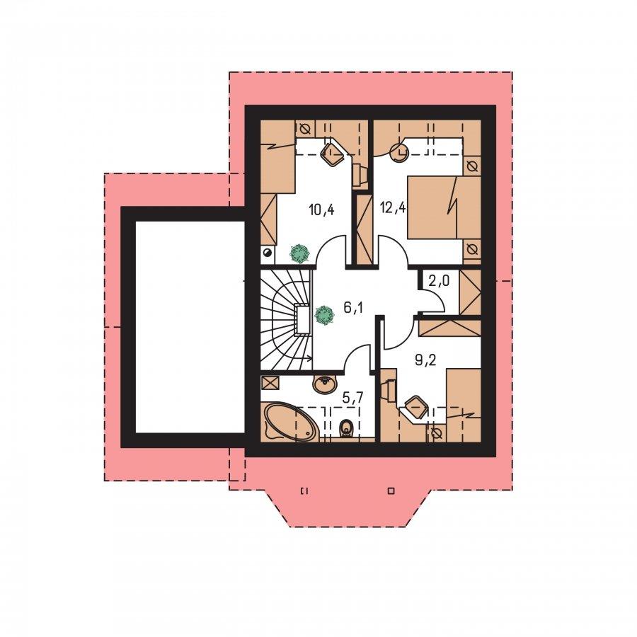 Pôdorys Poschodia - Malý praktický dom s garážou.