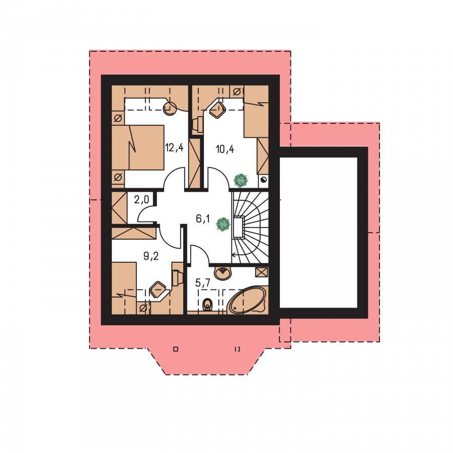 Pôdorys Poschodia - Malý praktický dom s garážou