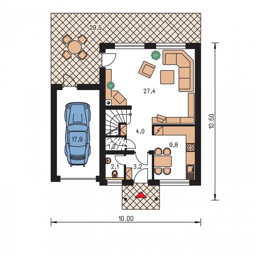 Pôdorys Prízemia - Malý praktický dom s garážou.