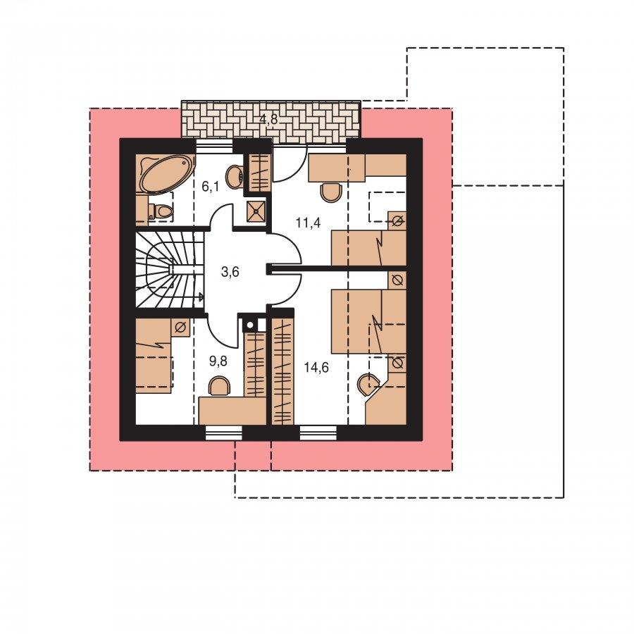 Pôdorys Poschodia - Dom vhodný aj ako chata