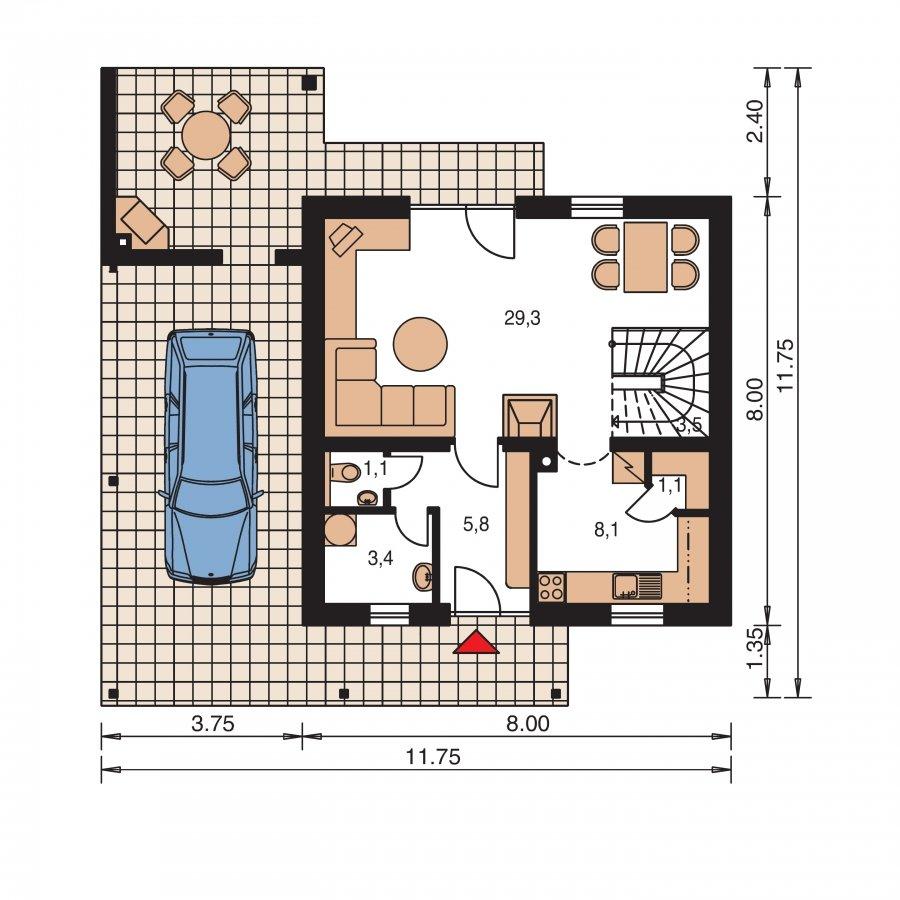 Pôdorys Prízemia - Dom vhodný aj ako chata