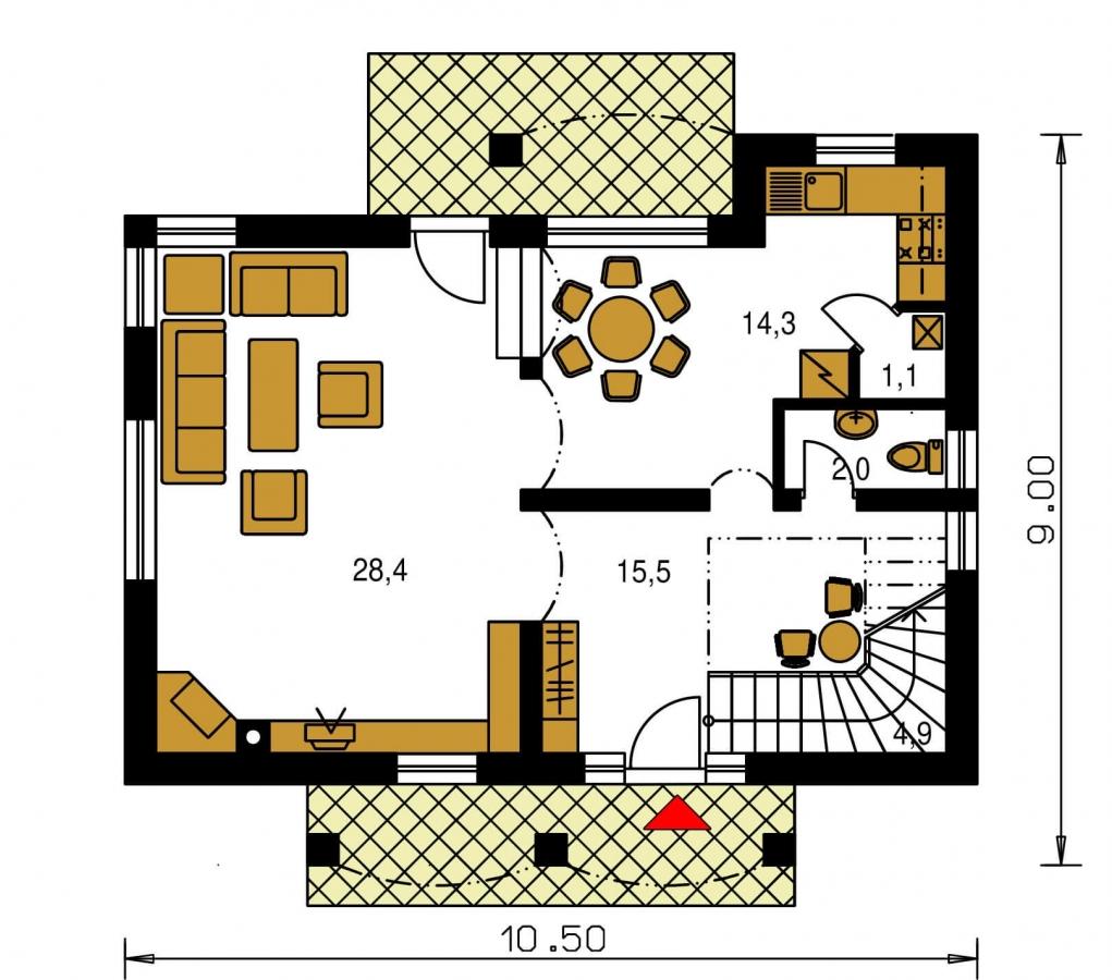 Pôdorys Prízemia - Poschodový 4-izbový dom.