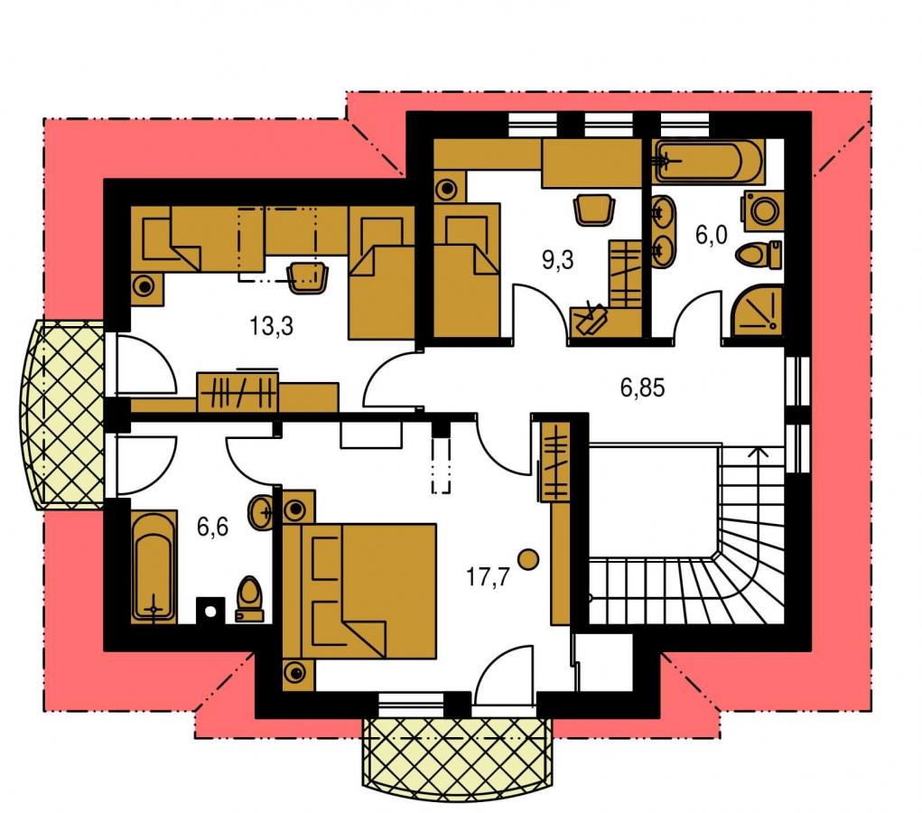 Pôdorys Poschodia - Poschodový 4-izbový dom.