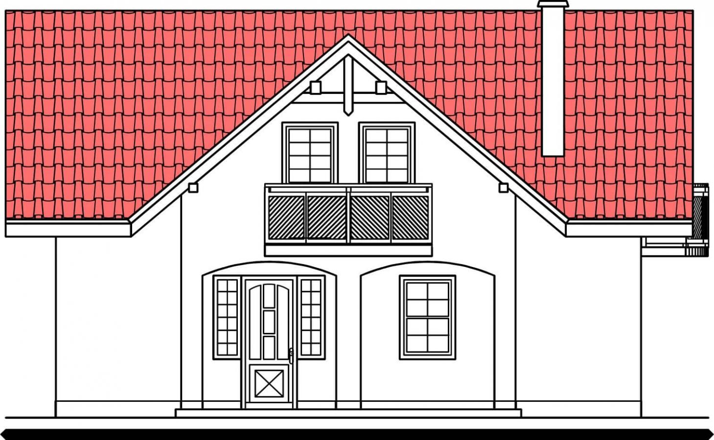 Pohľad 1. - Poschodový 4-izbový dom.