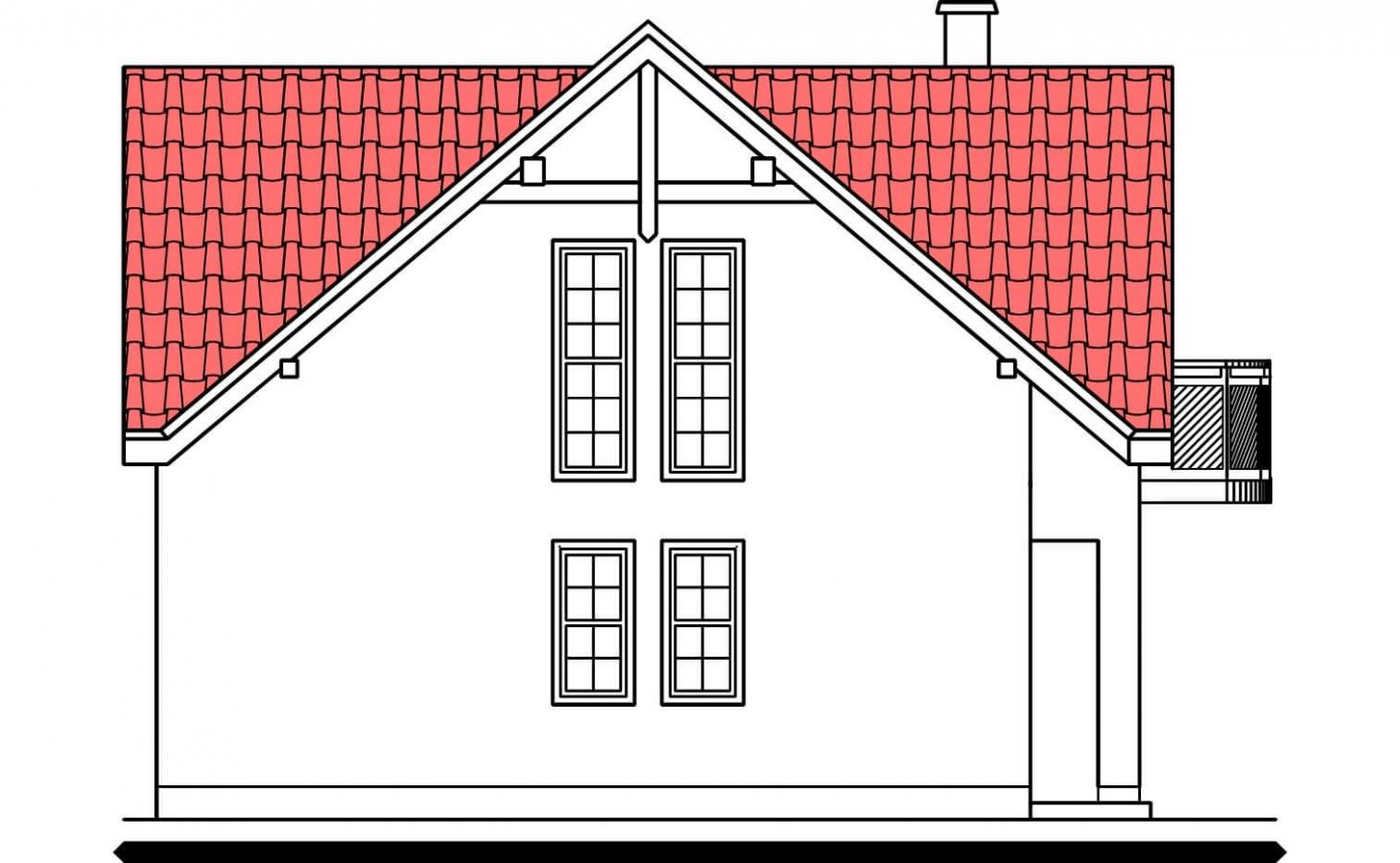 Pohľad 4. - Poschodový 4-izbový dom.