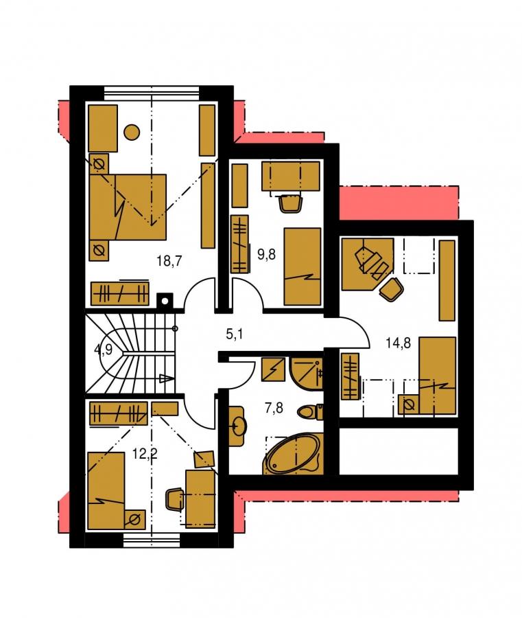 Pôdorys Poschodia - Dom vhodný do radovej výstavby.