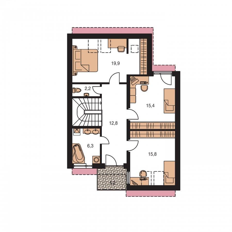 Pôdorys Poschodia - Moderný dom aj do radovej zástavby