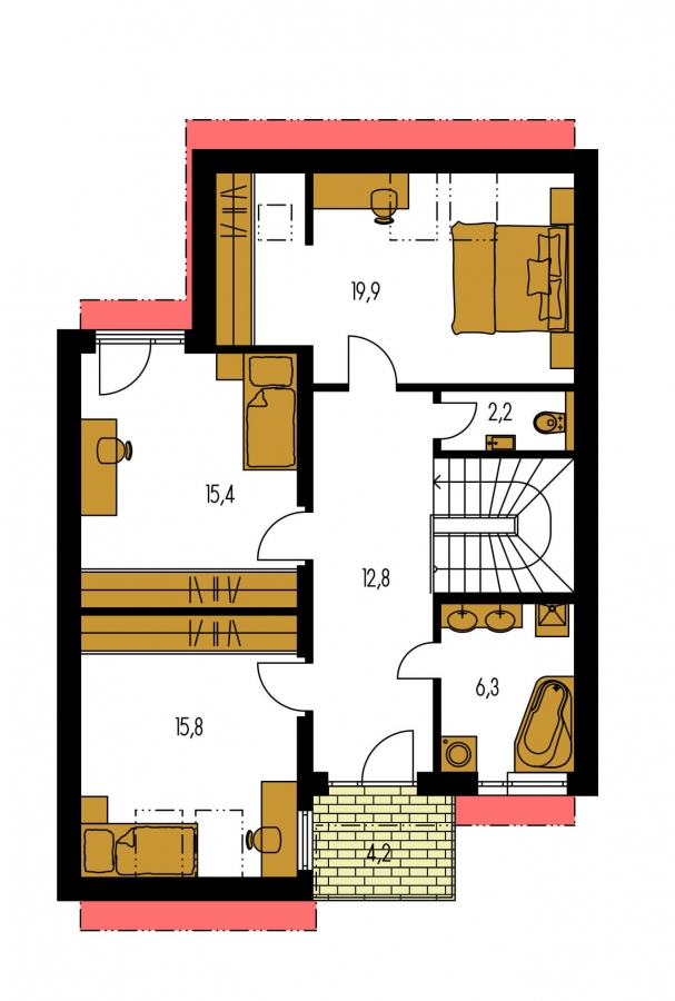 Pôdorys Poschodia - Moderný dom aj do radovej zástavby.