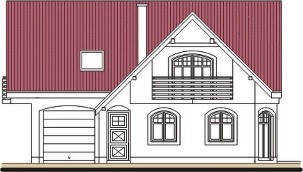 Pohľad 1. - Klasický dom s polvalbovou strechou.
