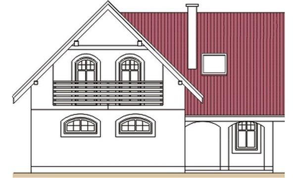 Pohľad 4. - Klasický dom s polvalbovou strechou.
