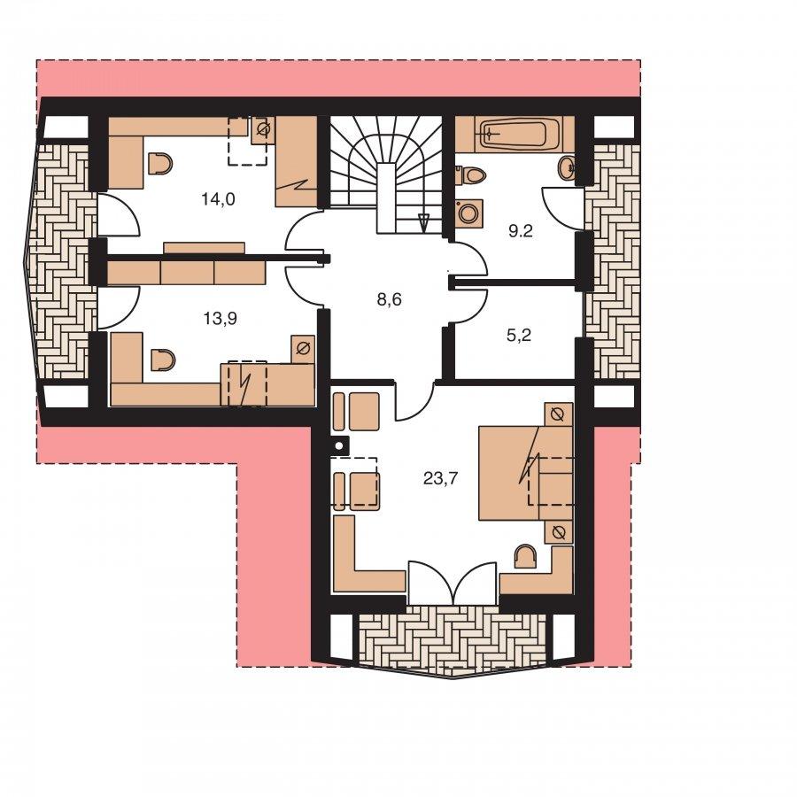Pôdorys Poschodia - Klasický dom s polvalbovou strechou.