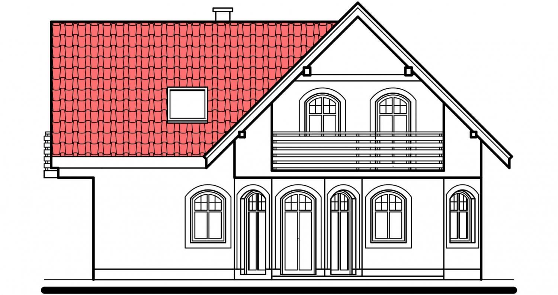 Pohľad 2. - Klasický dom s polvalbovou strechou.