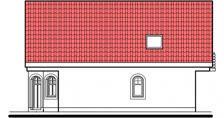 Pohľad 3. - Klasický dom s polvalbovou strechou.