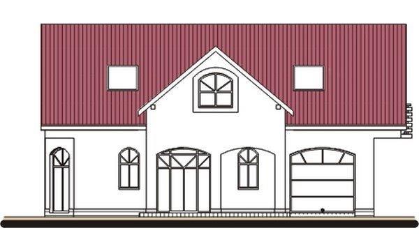 Pohľad 1. - Projekt domu s garážou