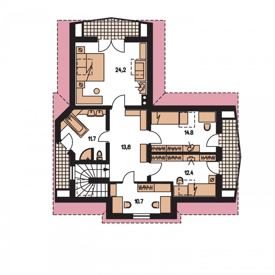 Pôdorys Poschodia - Projekt domu s garážou