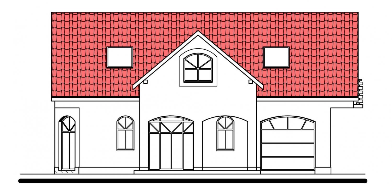 Pohľad 1. - Projekt domu s garážou.