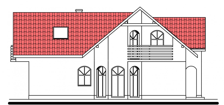 Pohľad 2. - Projekt domu s garážou.