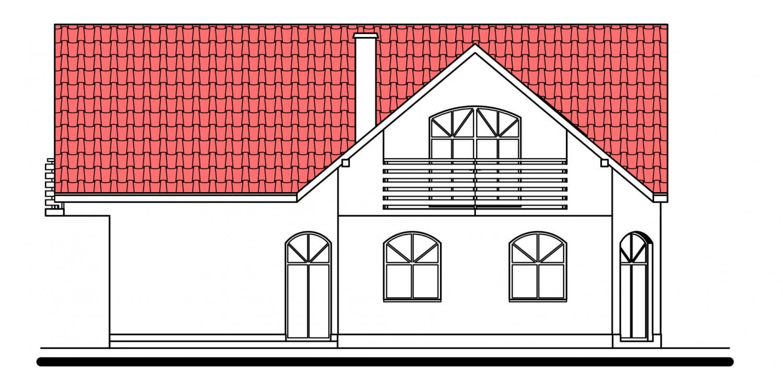 Pohľad 3. - Projekt domu s garážou.