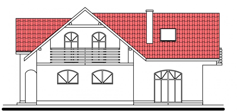 Pohľad 4. - Projekt domu s garážou.