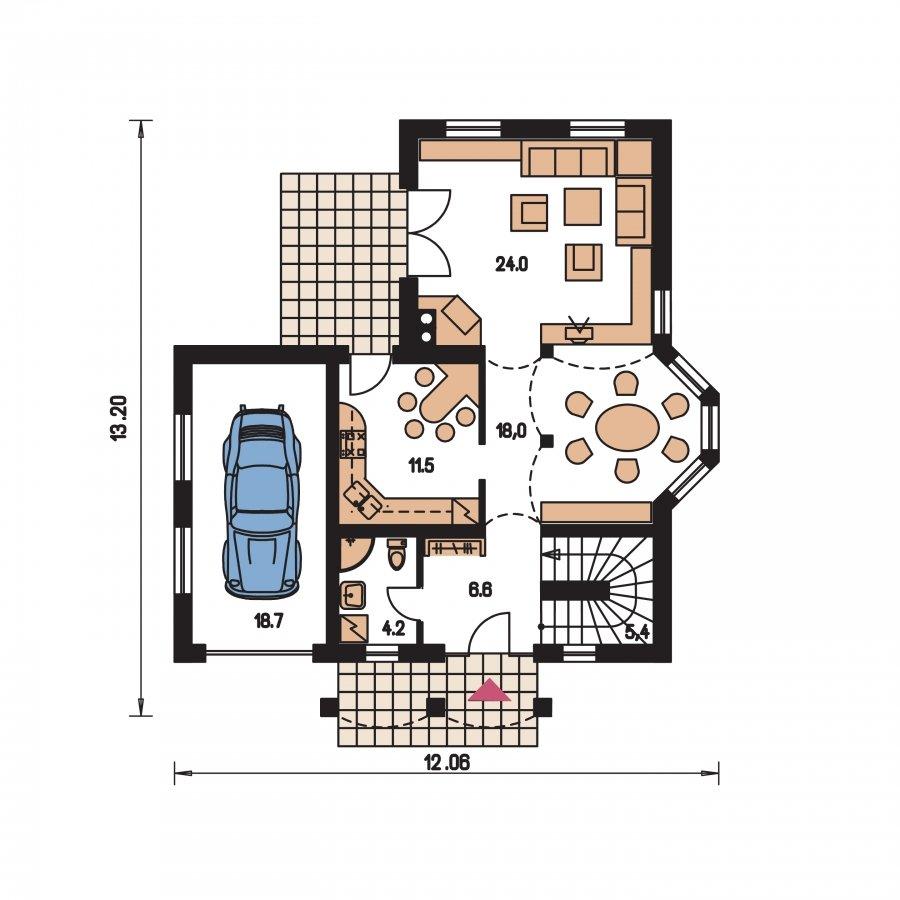Pôdorys Prízemia - Projekt domu s garážou
