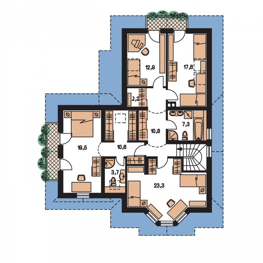 Pôdorys Poschodia - Veľký poschodový dom do tvaru L