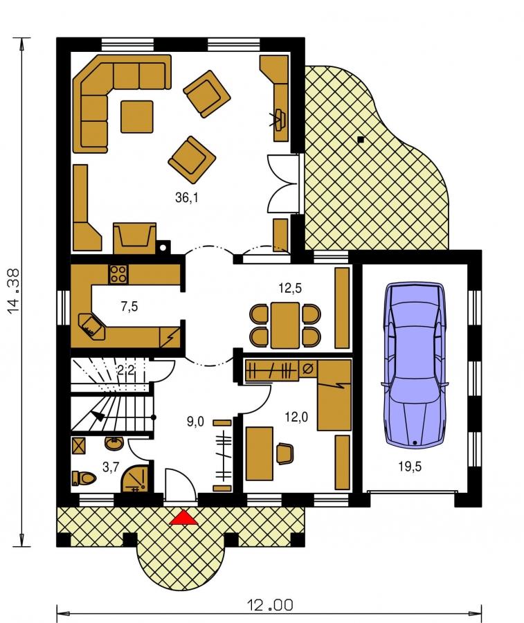 Pôdorys Prízemia - Veľký poschodový dom do tvaru L.