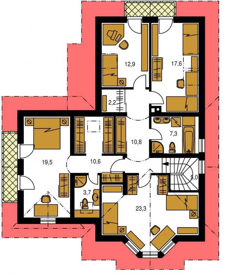 Pôdorys Poschodia - Veľký poschodový dom do tvaru L.