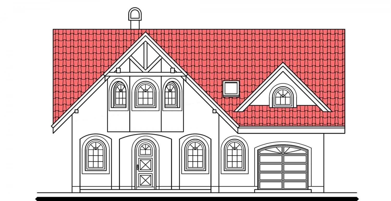 Pohľad 1. - Veľký poschodový dom do tvaru L.