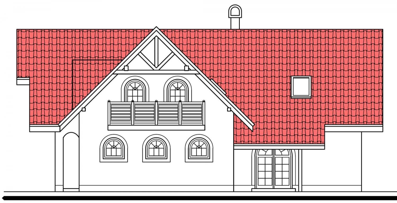 Pohľad 2. - Veľký poschodový dom do tvaru L.