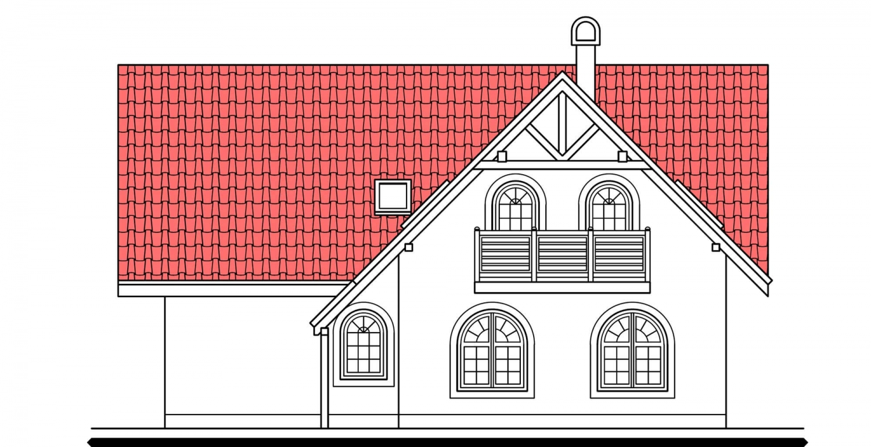 Pohľad 3. - Veľký poschodový dom do tvaru L.