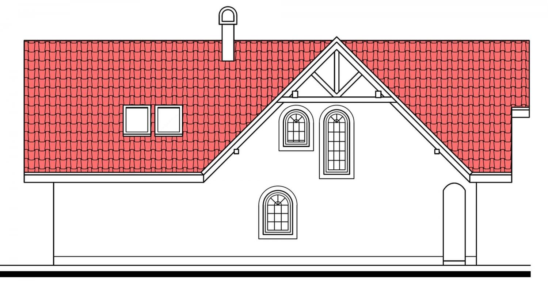 Pohľad 4. - Veľký poschodový dom do tvaru L.
