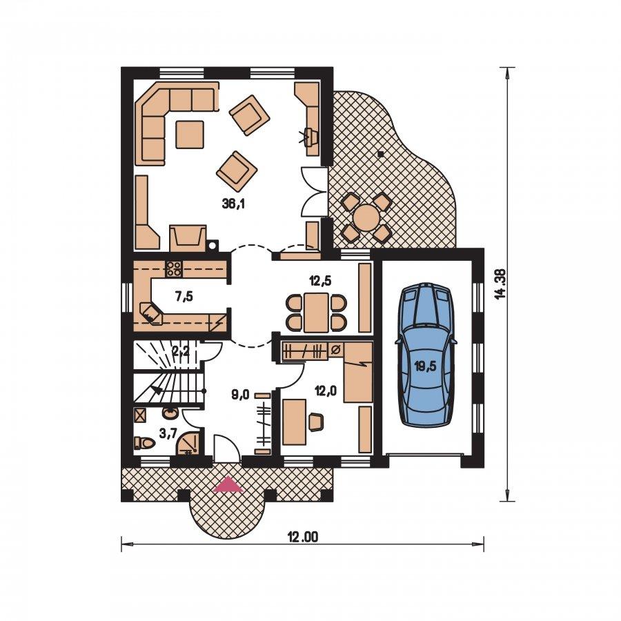 Pôdorys Prízemia - Veľký poschodový dom do tvaru L
