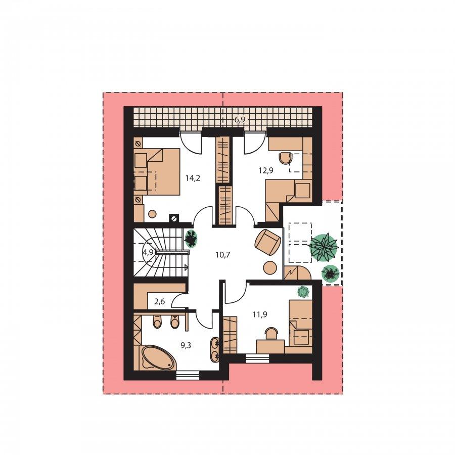 Pôdorys Poschodia - Praktický dom s galériou