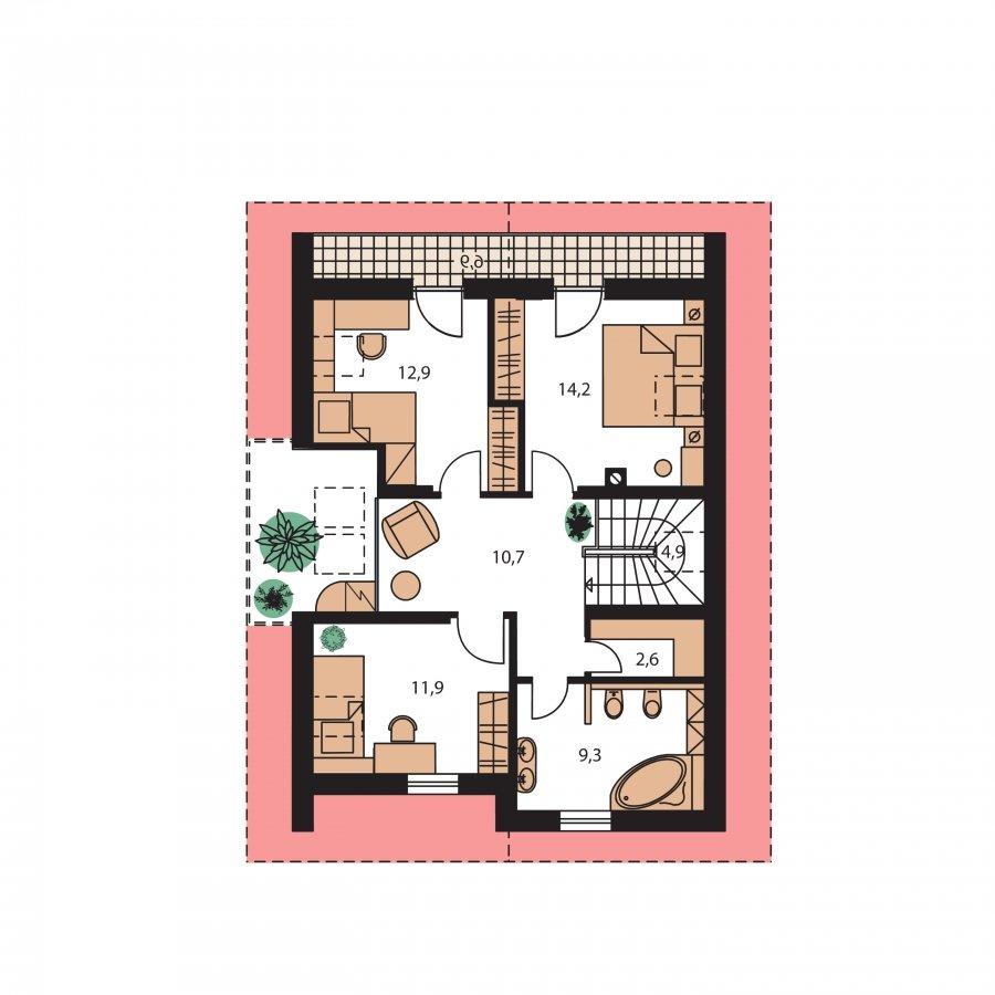 Pôdorys Poschodia - Praktický dom s galériou a izbou na prízemí.