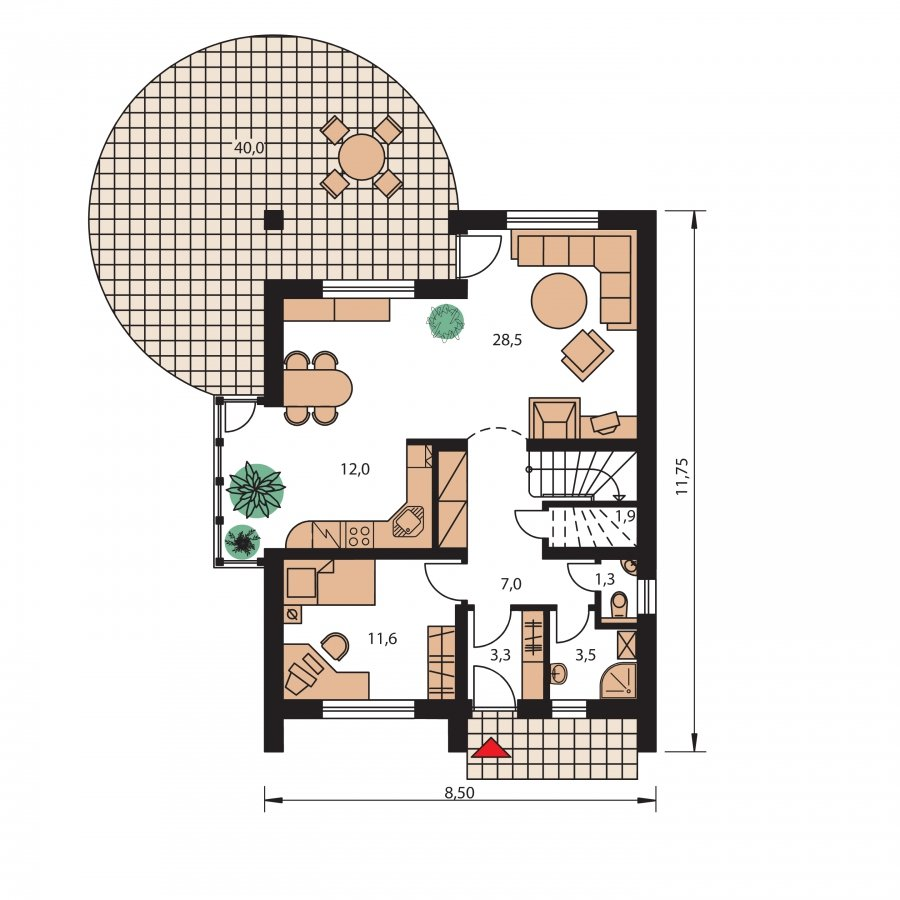 Pôdorys Prízemia - Praktický dom s galériou a izbou na prízemí.