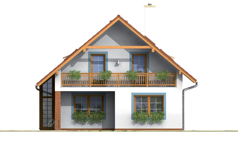Pohľad 3. - Praktický dom s galériou a izbou na prízemí.